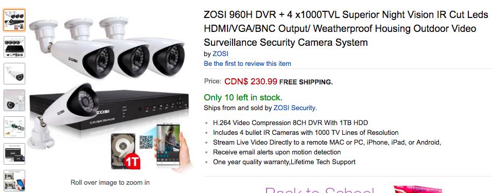 ZOSI security camera